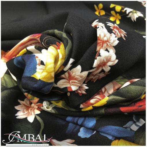 Вискоза креп-кади принт Oscar de la Renta крупные цветы на черном фоне