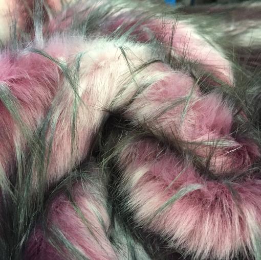 Мех искусственный стрейч в вишнево-серой гамме