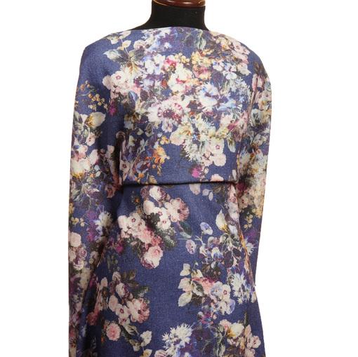 Плательно-костюмная шерсть цветочный принт на синем фоне