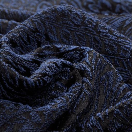 Черно-синий костюмно-плательный жаккард стрейч