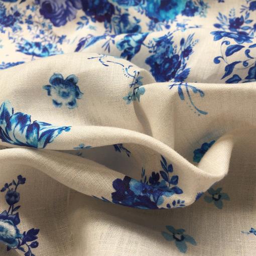 Лен принт Blumarine купон синие цветы