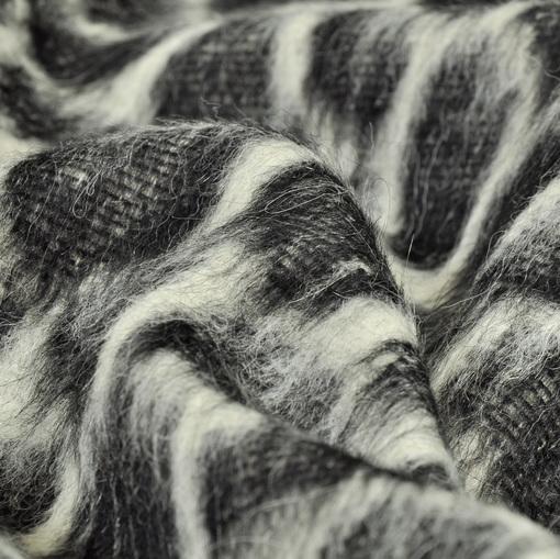 Пальтовая ткань с ворсом, черно-белая расцветка