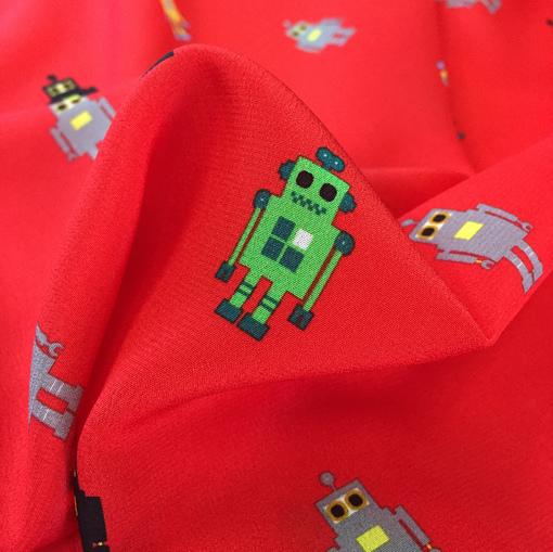 Шелк креп принт Philipp Plein роботы на красном фоне
