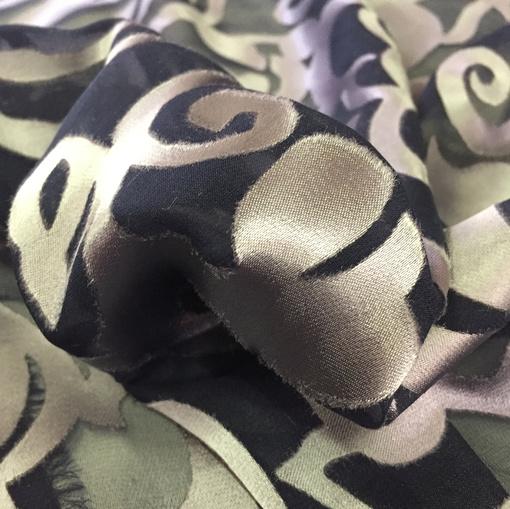 Шелк с вискозой деворе принт Valentino цветочный узор серо-синего цвета