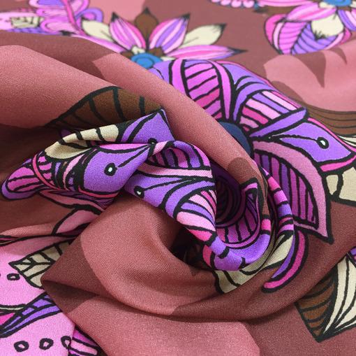 Шелк креп стрейч принт Blumarine цветы на калиновом фоне