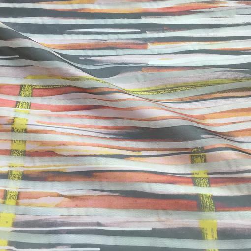 Органза Armani с шёлком  нарядная в кораллово-серых тонах