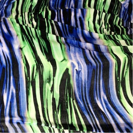 Панбархат вискозный дизайн Ferragamo на шелковой основе геометрия в сине-салатовых тонах
