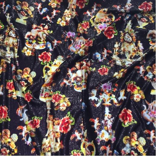 """Ткань нарядная дизайн D&G ангелы и подсвечники люрексовая """"травка"""" на шелке"""