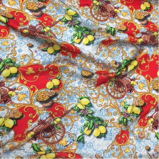 Шелк атласный принт A'biddikkia лимоны на голубом фоне