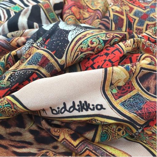 Шелк атласный принт A'biddikkia орнамент и зебра
