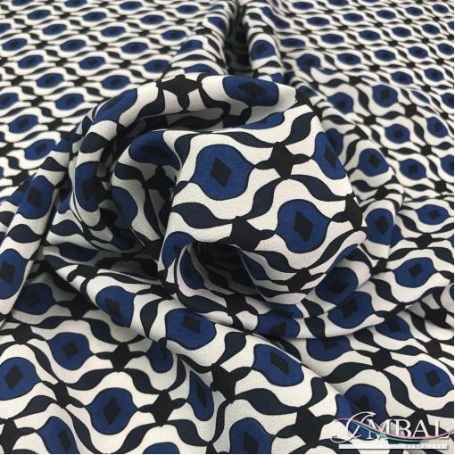 Шелк матовый принт Max Mara сине-черные соты