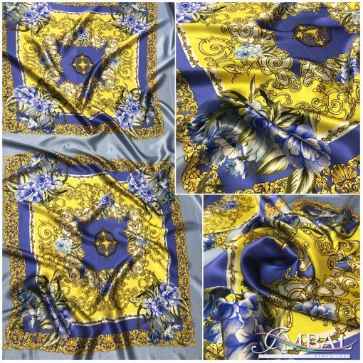 Шелк атласный платки сиреневые с золотыми вензелями на голубом фоне