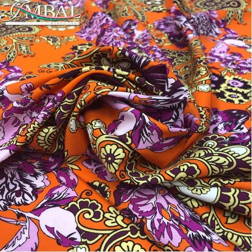 Шелк атласно-матовый стрейч принт в стиле ETRO на оранжевом фоне
