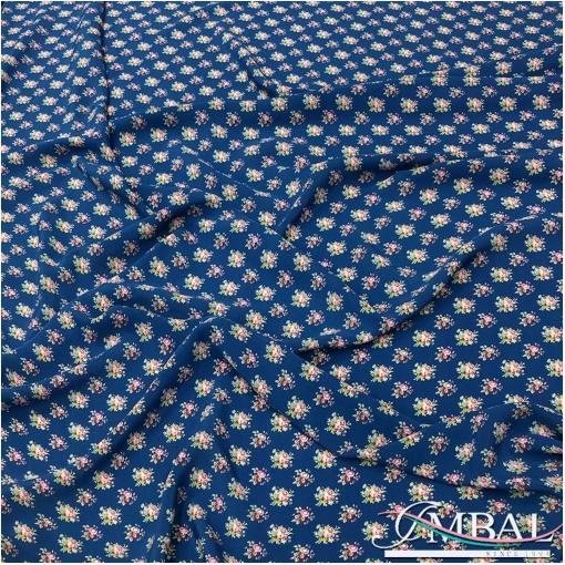 Шелк матовый креповый непрозрачный принт мелкие букеты на синем фоне