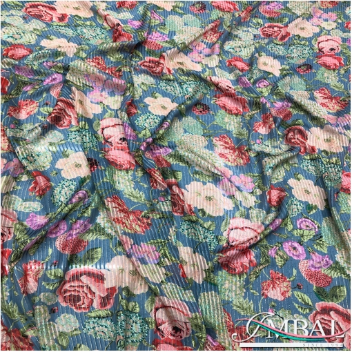 Шелк шифоновые и атласные полосы с люрексом и нежными розами на голубом фоне