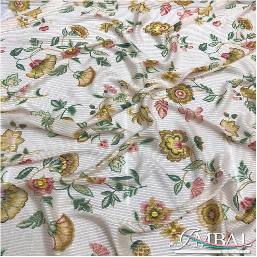 Шелк шифоновые и атласные полосы с люрексом и нежными розово-оливковыми цветами