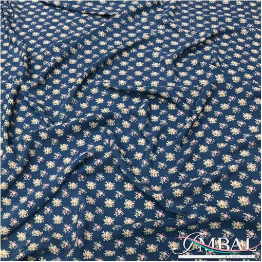 Шелк матовый креповый непрозрачный принт букетики на пыльно-синем фоне