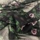 Шелк шифон принт Valentino стилизованные цветы на черном фоне