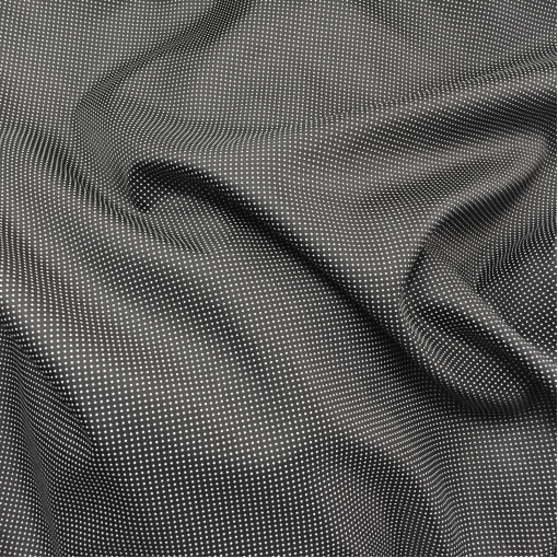 Шелк твил Gucci мелкие белые горошки на черном фоне