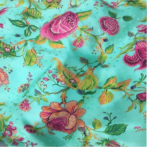 Шелк атласный жаккард принт нежные цветы на бирюзовом фоне