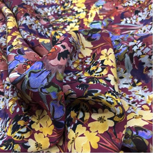 Шелк креповый принт Blumarine акварельная цветочная поляна