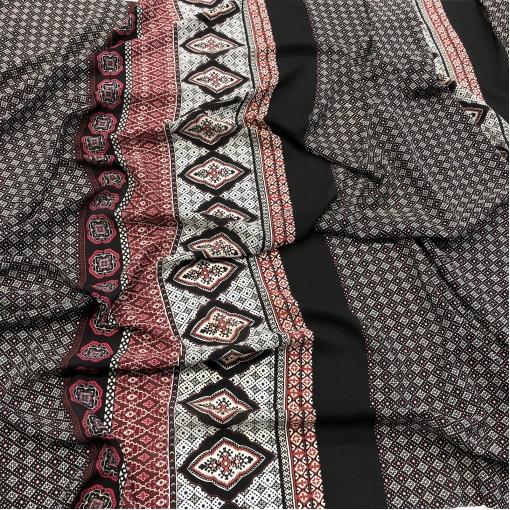 Шелк креповый принт ETRO купон с геометрией в бело-малиновой гамме