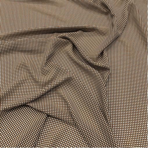 Шелк креповый принт Prada мелкая геометрия в черно-терракотовой гамме
