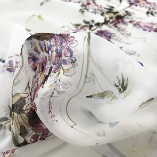 Шелк шифон принт Blumarine акварельные букетики на белом фоне