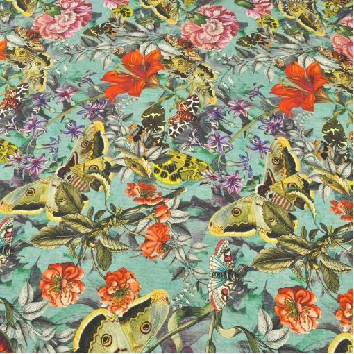Смесовый трикотаж джерси с печатью цветов и бабочек на бирюзовом фоне