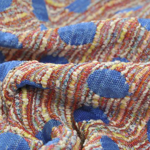 Ткань хлопок-вискоза-акрил для пошива костюмов и пальто, крупный голубой горох