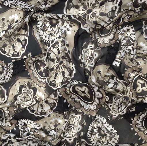 Шелк шифон принт Fisico абстрактный рисунок в шоколадно-оливковой гамме на черном фоне
