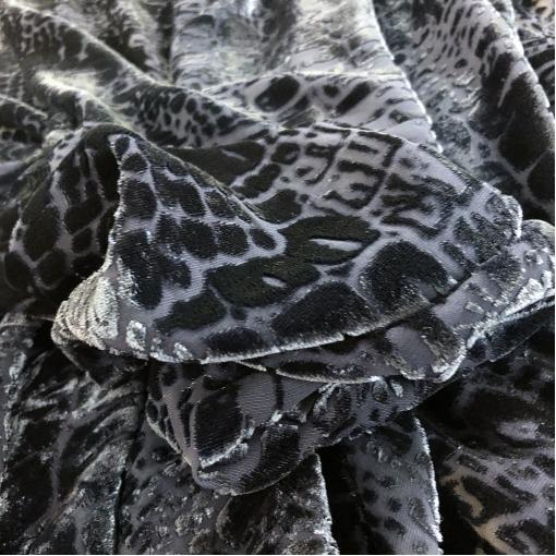 Панбархат вискозный деворе Armani на шелковой основе темно-синего цвета