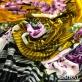 Панбархат вискозный на шелковой основе дизайн Armani продольный купон цветы на серо-желтом фоне