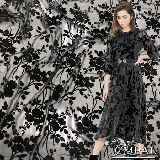 Панбархат деворе вискозный на шелковой основе дизайн Armani черные букеты