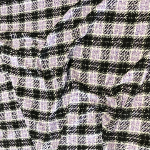 Ткань пальтовая плетеная Chanel клетка и пье-де-пуль в сиреневых тонах