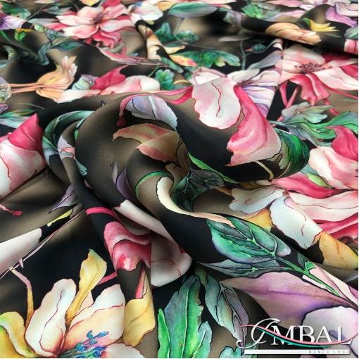 Шелк легкий матовый принт Gai Mattiolo вьющиеся цветы на коричневом фоне