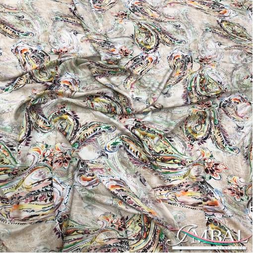 Шелк легкий принт ETRO цветочные огурцы на акварельном фоне