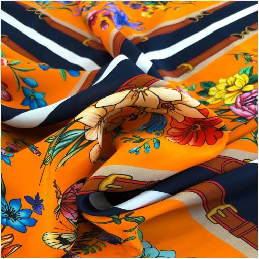 Шелк креповый дизайн Seventy платок цветы, ремни и бабочки на апельсиновом фоне