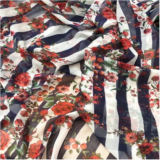 Шелк шифон принт Oscar de la Renta цветы и полосы