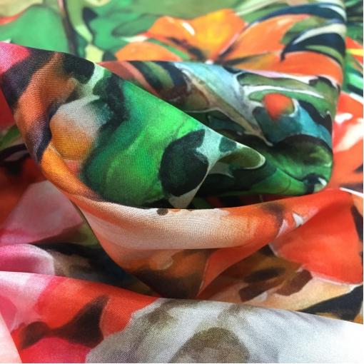 Шелк креповый принт Aspesi купон акварель и листья