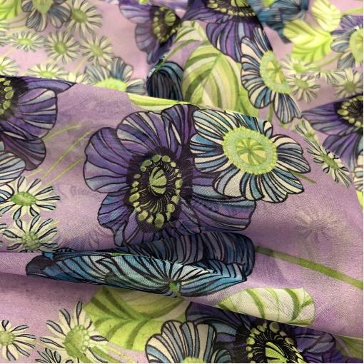 Шелк шифон принт Ungaro синие цветы на сиреневом фоне
