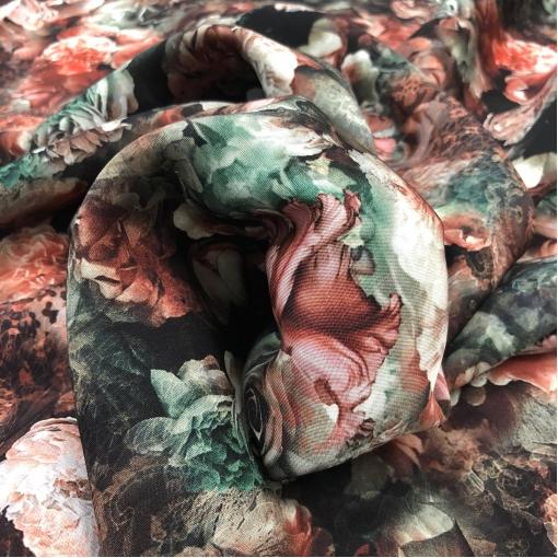 Кади шелковое стрейч принт D&G цветы на темном фоне