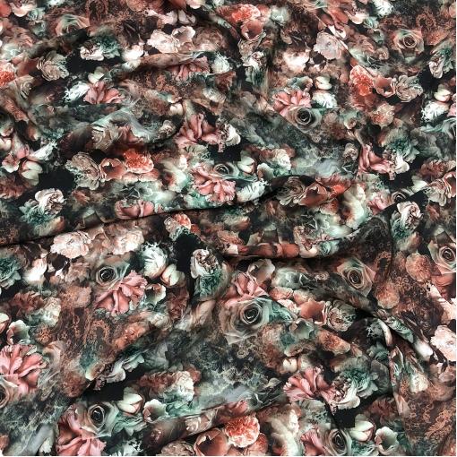 Кади шелковое принт D&G цветы на темном фоне