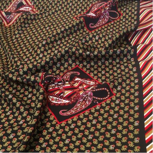 Шелк твил принт ETRO купон с мелкими цветами и полосками