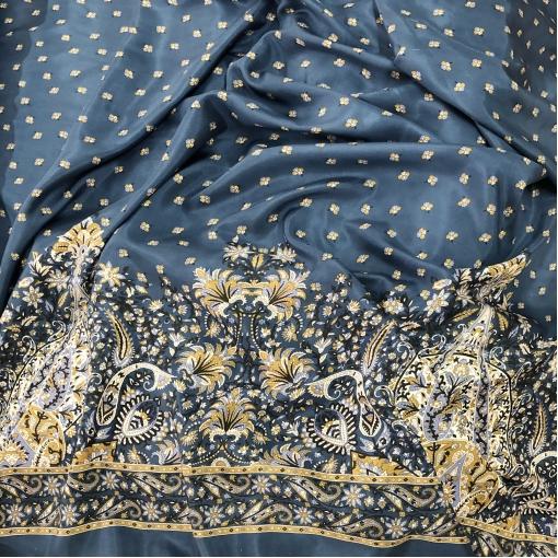 Шелк креповый принт ETRO продольный купон цветы на пыльно-сине-голубом фоне