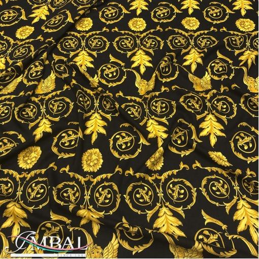Креп вискозный с шерстью стрейч принт Versace барокко с ангелами на черном фоне