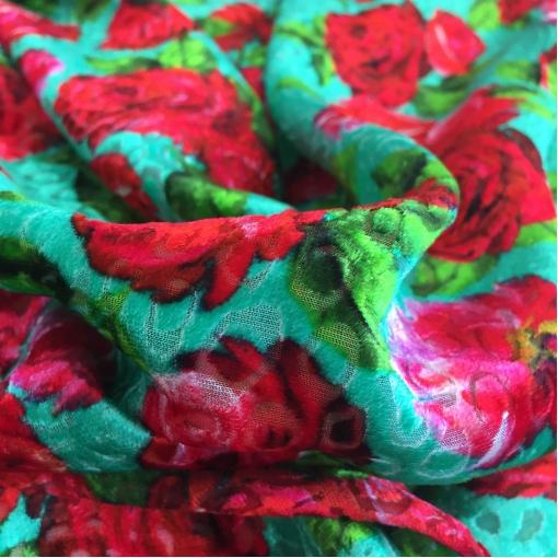 Панбархат деворе принт Blumarine красные розы на зеленом фоне