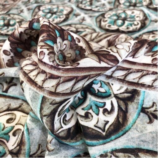Ткань костюмно-плательная принт ETRO купон с геометрией небесно-голубого цвета