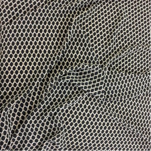 Шелк креп принт Prada геометрия на бежевом фоне