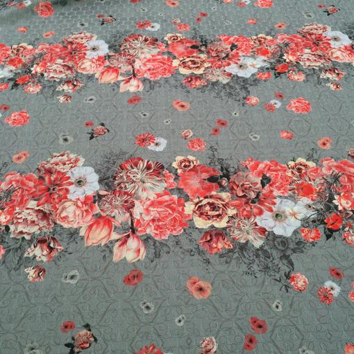 Жаккард нарядный принт Antonio Marras коралловые цветы на сером фоне
